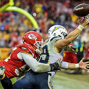 Kansas City Chiefs linebacker Dee Ford (55) broke up the final pass play of the game, intended for San Diego Chargers running back Danny Woodhead (39) with 0:02 left on Sunday, December 13, 2015 at Arrowhead Stadium in Kansas City, Mo. The Chiefs won, 10-3.