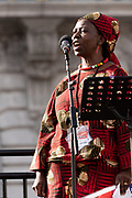 San Francisco, USA. 19th January, 2019. The Women's March San Francisco begins with a rally at Civic Center Plaza in front of City Hall. Musimbi Kanyoro, President and CEO of Global Fund for Women, addresses the crowd before the march begins. Kanyoro is an activist for women and girls' health and human rights, and is passionate about using philanthropy and technology to drive social change. Credit: Shelly Rivoli/Alamy Live News