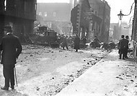 The ruins of the premises of the 'Freeman's Journal', located between Princes St and Abbey St, after it was destroyed by fire during the 1916 Rising. The side wall of the GPO can be seen on the right. They later became the location for the Irish Independent. (Part of the Independent Newspapers Ireland/NLI Collection)