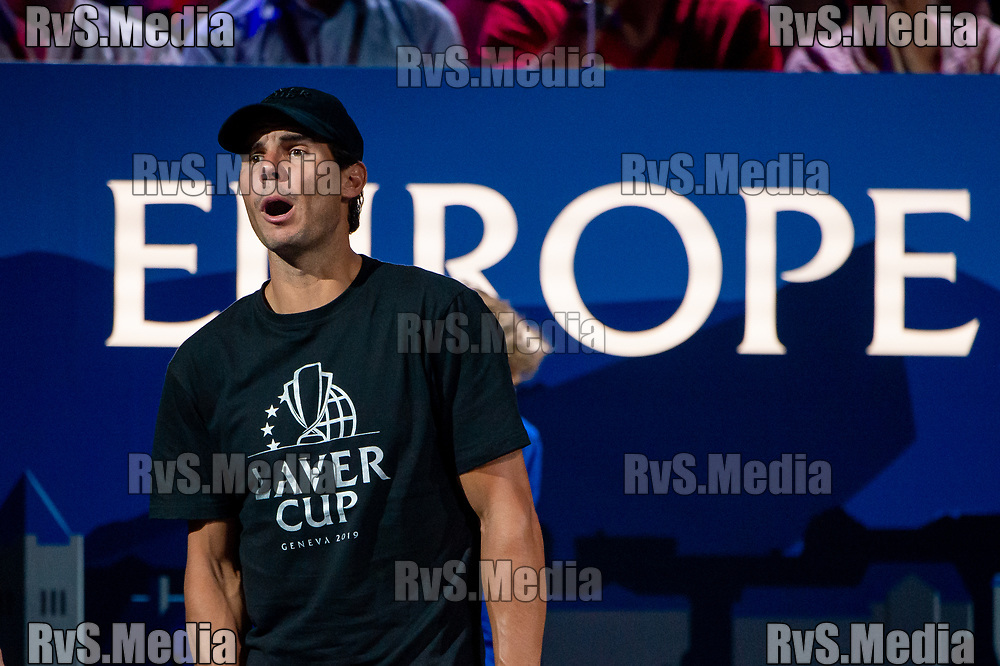 GENEVA, SWITZERLAND - SEPTEMBER 22: Rafael Nadal of Team Europe reacts during Day 3 of the Laver Cup 2019 at Palexpo on September 20, 2019 in Geneva, Switzerland. The Laver Cup will see six players from the rest of the World competing against their counterparts from Europe. Team World is captained by John McEnroe and Team Europe is captained by Bjorn Borg. The tournament runs from September 20-22. (Photo by Robert Hradil/RvS.Media)