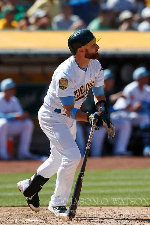 OAKLAND, CA - JUNE 17: Jonathan Lucroy #21 of the Oakland Athletics at bat against the Los Angeles Angels of Anaheim during the ninth inning at the Oakland Coliseum on June 17, 2018 in Oakland, California. The Oakland Athletics defeated the Los Angeles Angels of Anaheim 6-5 in 11 innings. (Photo by Jason O. Watson/Getty Images) *** Local Caption *** Jonathan Lucroy
