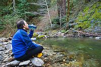 Resting at Big Sur River, Sykes Hot Springs, Big Sur, California.