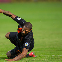 Netherlands' Jeremain Lens falls as he fights for the ball during a World Cup 2014 qualifying soccer match Hungary playing against Netherlands in Budapest, Hungary on September 11, 2012. ATTILA VOLGYI