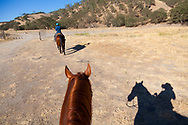 Work Family Guest Ranch, San Miguel, California offers horseback rides through the hills on the 12,000 acre property.  Kelly Work leads the ride