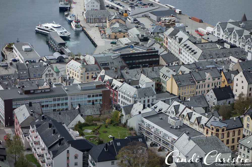 The 418 steps to the Aksla viewpoint yield views of the town of Ålesund, Norway, on May 14, 2013.  A road is available for people who for whatever reason cannot make the steep and winding climb.The Fjellstua restaurant is at the top. (© 2013 Cindi Christie)