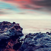 Morning sun light on lava rocks  - La Palma island near Puerto Naos, Canary Islans, Spain
