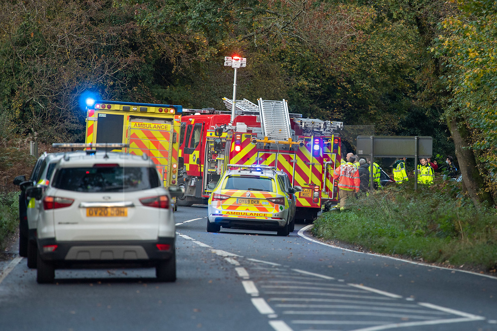 © Licensed to London News Pictures. 23/10/2020. Amersham, UK. Emergency services in attendance at the collision in Homer Green. At approximately 15:22BST on Friday 23/10/2020 there was a road traffic collision on the A404 in Holmer Green, close to the junction with Sheepcote Dell Lane, between a blue Vauxhall Corsa and a white Volvo V40. Sadly the driver of the Vauxhall Corsa, a man in his fifties from Buckinghamshire, sadly passed away on Monday 26/10/2020. The driver of the white Volvo, a woman in her forties, suffered a serious injury, she remains in hospital in a stable condition. Her injuries are not believed to be life-threatening. Prior to this collision it is believed that the driver of the Vauxhall Corsa may have been involved in some sort of altercation with another driver of a Silver Ford Focus. Photo credit: Peter Manning/LNP