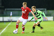 Bristol city's Connor Evans and Forest Green Rovers Corby Moore during the The County Cup match between Forest Green Rovers and Bristol City at the New Lawn, Forest Green, United Kingdom on 23 November 2015. Photo by Shane Healey.