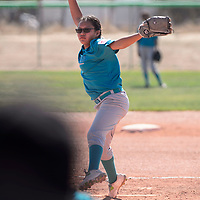 Jaylin Parry pitching for Turquoise Nation in the first round of the Little League State Softball Tournament at Gallup High School, Friday July 6.