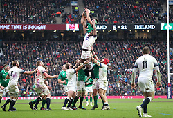 Ireland's CJ Stander (centre left) goes for the ball in the lineout during the NatWest 6 Nations match at Twickenham Stadium, London.