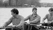 Chiswick. London.<br /> Eights starting from Mortlake<br /> NCRA, left to right, Alan WHITELL, Simon LARKIN and Peter HAINGING<br /> 1987 Head of the River Race over the reversed Championship Course Mortlake to Putney on the River Thames. Saturday 28.03.1987. <br /> <br /> [Mandatory Credit: Peter SPURRIER;Intersport images] 1987 Head of the River Race, London. UK
