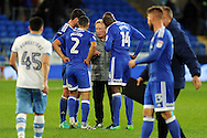 Cardiff City manager Neil Warnock © discusses tactics with a few of the Cardiff players after the match.  EFL Skybet championship match, Cardiff city v Sheffield Wednesday at the Cardiff city stadium in Cardiff, South Wales on Wednesday 19th October 2016.<br /> pic by Carl Robertson, Andrew Orchard sports photography.