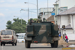 HARARE, ZIMBABWE - NOVEMBER 15 : A tank seals off a main road to the parliament building within the military activities taking place in Harare, Zimbabwe on November 15, 2017. President Robert Mugabe and his family have been detained following military intervention in capital Harare, which an army spokesman and the ruling party insisted Wednesday was &