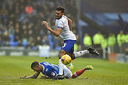 Portsmouth Midfielder, Carl Baker (7) fouls Mansfield Town Defender, Melvind Benning (3) during the EFL Sky Bet League 2 match between Portsmouth and Mansfield Town at Fratton Park, Portsmouth, England on 12 November 2016. Photo by Adam Rivers.