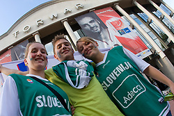 Slovenian fans before the basketball match at Preliminary Round of Eurobasket 2009 in Group C between Slovenia and Spain, on September 09, 2009 in Arena Torwar, Warsaw, Poland. (Photo by Vid Ponikvar / Sportida)