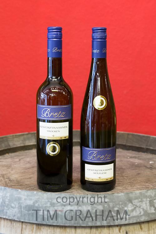 Gewurztraminer Trocken and Spatlese by Bretz bottles of famous German wine on oak cask display in Lubeck, Germany