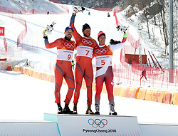 PYEONGCHANG, Feb. 15, 2018  Gold medalist Aksel Lund Svindal of Norway (C), silver medalist Kjetil Jansrud of Norway (L), and bronze medalist Beat Feuz of Switzerland pose for group photos after the men's downhill of Alpine skiing at the 2018 PyeongChang Winter Olympic Games, at Jeongseon Alpine Centre, South Korea, on Feb. 15, 2018. (Credit Image: © Li Gang/Xinhua via ZUMA Wire)