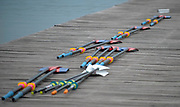 Plovdiv, Bulgaria, 9th May 2019, FISA, Rowing World Cup 1,  GV, General View, Oars and Sculls, on the Pontoon.<br /> [© Peter SPURRIER]