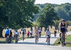 """© Licensed to London News Pictures. 13/09/2020. London, UK. Cyclists flock to Richmond Park in South West London this afternoon to enjoy the warm sunshine a day before the """"Rule of 6"""" comes into force on Monday as weather experts announce a 5 day mini-heatwave in the South East of England with highs of 29c. Prime Minister Boris Johnson announced on Friday that gatherings of more than six people will be banned from Monday (tomorrow) in the hope of reducing the coronavirus R number. The Rule of Six as it is known, has already become unpopular with MPs and large families for being too strict. Photo credit: Alex Lentati/LNP"""
