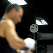 HOLLYWOOD, FL - APRIL 07:  The thermometer reads 98 degrees in the gym as boxing world champion Wladimir Klitschko works out for the media at the Heavyweight Factory Boxing Gym on April 7, 2015 in Hollywood, Florida. Klitschko is in training for his fight against Bryant Jennings. (Photo by Alex Menendez/Getty Images) *** Local Caption *** Wladimir Klitschko