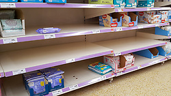 © Licensed to London News Pictures. 11/03/2020. London, UK. Sainsbury's store in London runs low of nappies amid an increased number of cases of Coronavirus (COVID-19) in the UK. Major supermarkets have started to ration certain products after shoppers began to stockpile. Six coronavirus victims have died and 373 cases have tested positive of the virus. Photo credit: Dinendra Haria/LNP