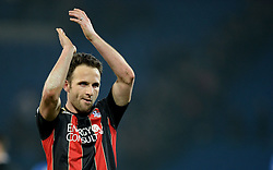 Bournemouth's Marc Pugh claps the traveling fans. - Photo mandatory by-line: Alex James/JMP - Mobile: 07966 386802 - 17/03/2015 - SPORT - Football - Cardiff - Cardiff City Stadium - Cardiff City v AFC Bournemouth - Sky Bet Championship