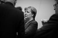 DEU, Deutschland, Germany, Berlin,07.02.2018: Bundeskanzlerin Dr. Angela Merkel (CDU) bei der Fraktionssitzung der CDU/CSU im  Deutschen Bundestag. Wenige Stunden zuvor wurden die Koalitionsverhandlungen zwischen CDU/CSU und SPD erfolgreich abgeschlossen.