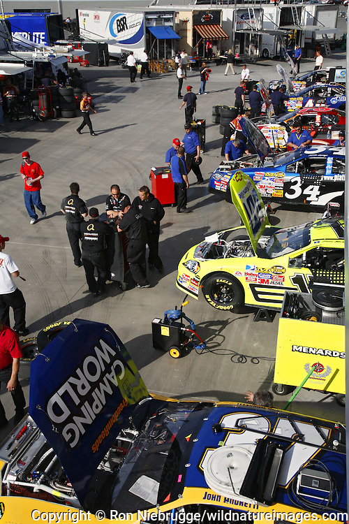 Cars being worked on at a NASCAR race at the Las Vegas Motor Speedway, Las Vegas, Nevada.