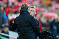 Liverpool Manager Jurgen Klopp and Sunderland Manager David Moyes shake hands prior to kick off. Premier League match, Liverpool v Sunderland at the Anfield stadium in Liverpool, Merseyside on Saturday 26th November 2016.<br /> pic by Chris Stading, Andrew Orchard sports photography.