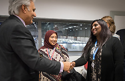 9 December 2019, Madrid, Spain: Religious leaders from a variety of faiths meet to hand over an interfaith declaration to Ovais Sarmad, deputy executive secretary of the UNFCCC, at COP25. Here, Pranita Biswasi from the Lutheran World Federation (right).
