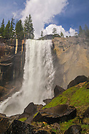 Vernal Fall as seen from the Mist Trail, Grand Staircase of the Merced River, above Yosemite Valley, Yosemite National Park, California