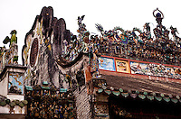 Roof detail on Tian Hou temple in Ho Chi Minh City, Vietnam.