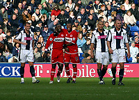 Photo: Dave Linney.<br />West Bromwich Albion v Middlesbrough. The Barclays Premiership. 26/02/2006    Middlesbrough's               .Jimmy Floyd Hasselbank(L) celebrates his second goal with  Aiyegbeni Yakuba