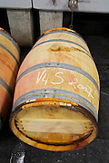 barrel with chalk writing clos des quatre vents margaux medoc bordeaux france