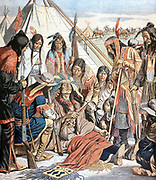 Death of Joseph (c1840-1904) Chief of the Nez-Perce. Led North American Indian tribes in resistance to white settlers (1877). From 'Le Petit Journal', Paris, October 1904.