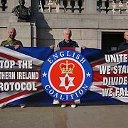 Anti N.I Protocol protest No IrishSea Border in Trafalgar Square, London, UK. 9 October 2021.