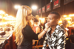 December 8, 2019, Atlanta, Georgia, USA: Shubila Stanton, Miss Tanzania 2019 gets makeup done by an OP Cosmetics artist backstage during The Miss Universe Competition telecast, held at Tyler Perry Studios. Contestants from around the globe have spent the last few weeks touring, filming, rehearsing and preparing to compete for the Miss Universe crown. (Credit Image: © Benjamin Askinas/Miss Universe Organization via ZUMA Wire)