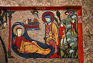 Romanesque Altar Front of Cardet<br /> <br /> Thirteenth century paint and metal relief on wood from a church of Santa Maria of Cardet, Vall de Boi, Alta Ribagorca, Spain<br /> <br /> Acquired by the National Art Museum of Catalonia, Barcelona 1932. Ref: MNAC 3903.<br /> <br /> <br /> This Romanesque painted altar front is dedicated to the Nativity. Top left depicts the nativity scene with Mary, Joseph, the Shepherds and Christ in a manger.