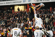 Liam Messam gets life high above Raynhardt Elstadt during the Investec Super 15 Rugby match, Chiefs v Stormers, at Waikato Stadium, Hamilton, New Zealand, Saturday 14 May 2011. Photo: Dion Mellow/photosport.co.nz