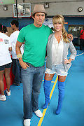 l to r: Chaske Spencer and Leah Renee at The 2nd Annual Staples/Do Something 101 Volunteer Event held at The Children's AID Society Dunlevy Milbank Boys & Girls Club in Harlem on August 4, 2009 in New York City