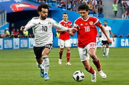Egypt Mohamed Salah (L) and Russia Yury Zhirkov (R) during the 2018 FIFA World Cup Russia, Group A football match between Russia and Egypt on June 19, 2018 at Saint Petersburg Stadium in Saint Petersburg, Russia - Photo Stanley Gontha / Pro Shots / ProSportsImages / DPPI
