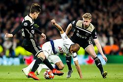 Lucas of Tottenham Hotspur takes on Nicolas Tagliafico and Frenkie de Jong of Ajax  - Mandatory by-line: Robbie Stephenson/JMP - 30/04/2019 - FOOTBALL - Tottenham Hotspur Stadium - London, England - Tottenham Hotspur v Ajax - UEFA Champions League Semi-Final 1st Leg