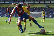 Joel Ward of Crystal Palace blocks the ball from Jordan Amavi of Aston Villa. Barclays Premier league match, Crystal Palace v Aston Villa at Selhurst Park in London on Saturday 22nd August 2015.<br /> pic by John Patrick Fletcher, Andrew Orchard sports photography.