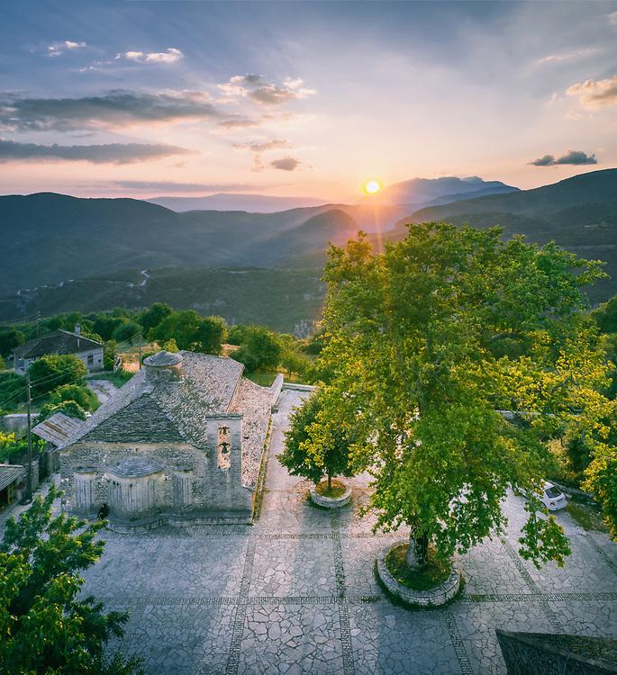 Village of Vikos at Zagori (or Zagorochoria or Zagorohoria) in Pindus Mountains, Greece