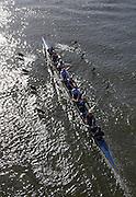 Putney. London,  Great Britain.<br /> Oxford, Isis, move away from Hammersmith Bridge.<br /> 2016 Tideway Week, Putney. Putney Embankment, Championship Course. River Thames.<br /> <br /> Friday  25/03/2016 <br /> <br /> [Mandatory Credit; Karon PHILLIPS/Intersport-images]