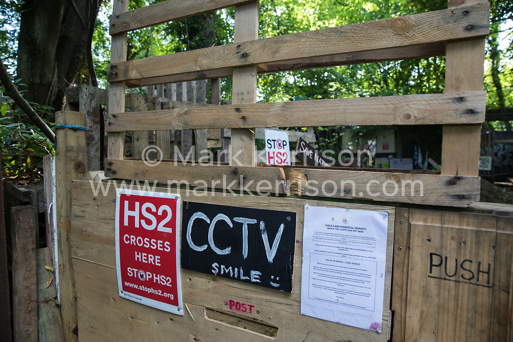 The entrance to the Stop HS2 Wendover Active Resistance Camp is seen on 17th July 2020 in Wendover, United Kingdom. Environmental activists from groups including Stop HS2 and HS2 Rebellion continue to protest against HS2, which is currently projected to cost £106bn and which will remain a net contributor to CO2 emissions during its projected 120-year lifespan, on environmental and economic grounds.