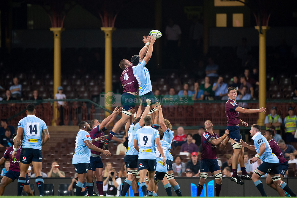 March 9, 2019 - Sydney, NSW, U.S. - SYDNEY, NSW - MARCH 09: Waratahs player Rob Simmons (5) and Reds player Izack Rodda (4) go up for the ball at round 4 of Super Rugby between NSW Waratahs and Queensland Reds on March 09, 2019 at The Sydney Cricket Ground, NSW. (Photo by Speed Media/Icon Sportswire) (Credit Image: © Speed Media/Icon SMI via ZUMA Press)
