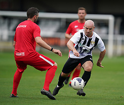 Head for Change's Nicky Parnaby (left)l and Team Solan's Parker during the Head for Change and the Solan Connor Fawcett Trust charity match at Spennymoor Town FC, County Durham. Picture date: Sunday September 26, 2021.