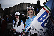 Supporters di Silvio Berlusconi a piazza del Popolo per partecipare alla Manifestazione del Popolo della Libertà. Roma, 23 marzo 2013. Christian Mantuano /  Oneshot