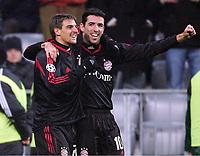 v.l. Sebastian Deisler, Roy Makaay Bayern Jubel nach 3:0<br /> Champions League FC Bayern München - Rapid Wien <br /> Norway only